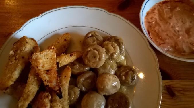 Hähnchensticks mit Pilzen